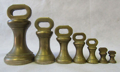Original Vintage Set 7 Brass Imperial Bell Weights 1lb to 1/4oz Kitchen Scales