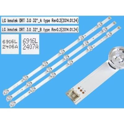 "Kit Tv Lg 3 Barre Strip Led Lg Innotek 32"" 6916L-1974A 6916L-1975A 32Lb5700"