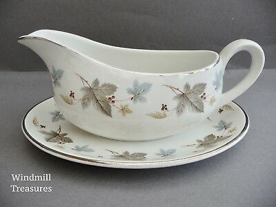 Vintage Ridgway 'White Mist' Gravy Boat And Saucer - Fab Condition