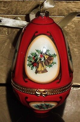 2008 Red Mr. Christmas Musical Ornament Egg Valerie Parr--plays JOY TO THE WORLD