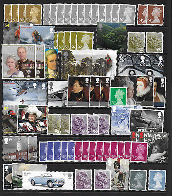 GB £130 FACE VALUE UNFRANKED VARIOUS VALUE STAMPS FROM .10p-£5 OFF PAPER NO GUM