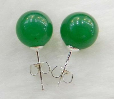 Charming10mm Jewelry Multicolor Emerald Jade & Silver Stud Earrings gift