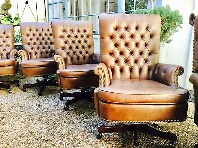 Vintage tufted  leather chairs  Old Hickory Tannery / Office / conference
