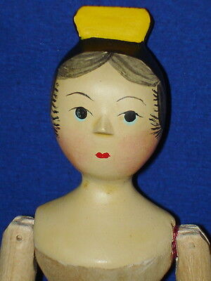 "American Artist Sherman Smith 6"" Yellow Tuck Comb Peg Wooden Doll Signed 1970"