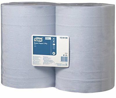 Tork Basic Wiping Paper, Blue, 340 mx369 cm, 2 x Roll of 1000 Sheets