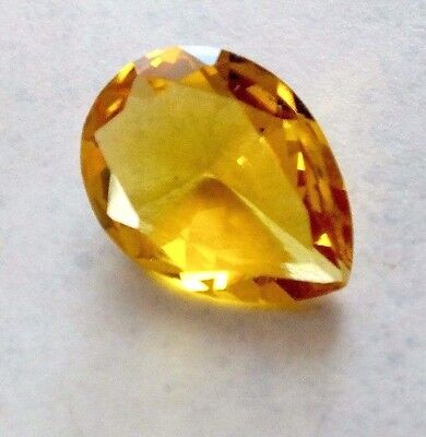10 ct FACETED TEARDROP 18X12X5 mm YELLOW CITRINE LOOSE GEMSTONE PENDANT CHARM Q2