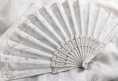 White Silver Floral Hand Fan Wedding Dance Fancy Chinese Spanish Hen Party Bb4