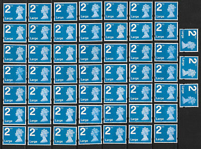 GB 50 2nd CLASS LARGE LETTER STAMPS UNFRANKED OFF PAPER NO GUM