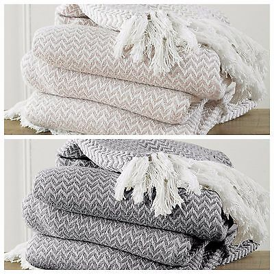 New Large 100% Cotton Woven Herringbone Sofa Chair Bed Throw Fringed Blanket