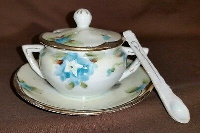 Vintage Hand Painted Nippon Small Sugar Bowl Attached Underplate Saucer & Spoon