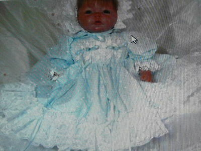 Blue Embroidered Batiste Dress For Reborn Doll Or Baby  Size 0-3 Month