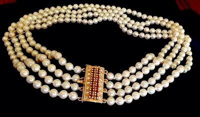 Baby pearls/ pearl seeds BIG Clasp Diamonds Ruby 14k Necklace choker