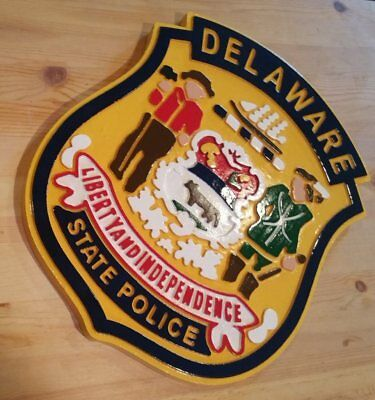 Police Delaware State 3D routed carved  wood Patch plaque sign