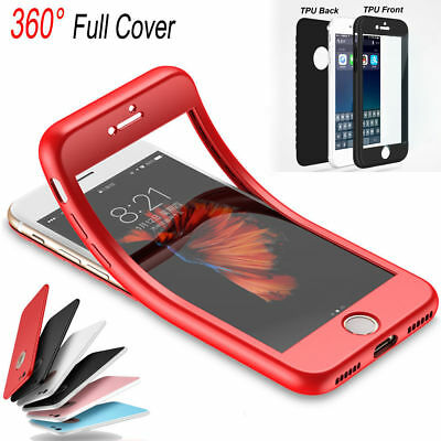 360° Rubber TPU Full Body Cover Shockproof Phone Case For iPhone 5s 6s 7 8Plus X