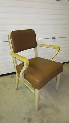 Beige Matching Steelcase Vintage Industrial Office Chairs Metal Vinyl - CLEAN