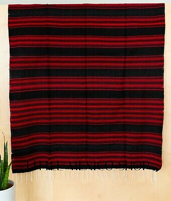 POPULAR SERAPE Mexican Blanket BLACK RED SOUTHWESTERN 5' x 7' Falsa Serape Throw
