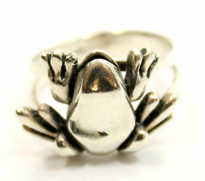 """Unique Antique Estate """"Frog"""" Ring Size 5 in Sterling Silver"""