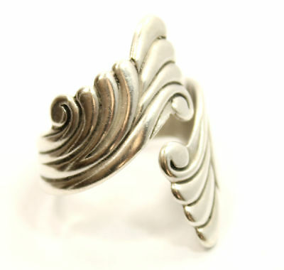 """Bold & Beautiful Antique Estate """"Scroll"""" Ring Size 9 in Sterling Silver"""
