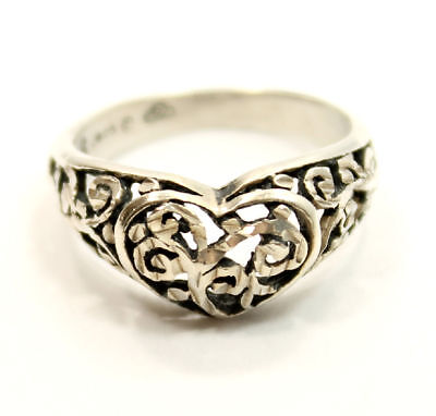 """Beautiful Antique Estate """"Heart"""" Shaped Ring Size 8  in Sterling Silver"""