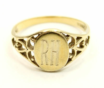 Gold Plated Antique Estate  Ring Size 9  in Sterling Silver