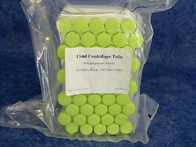 NEW 15ml Centrifuge Tube Sterile Polypropylene sealed / 50ct with Conical Bottom