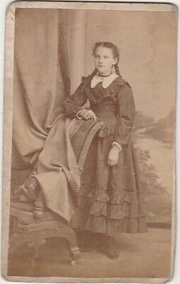 Cdv Stereo Photographer Hammersley,st. Louis,mo.1875,young Girl,pig Tails,broach