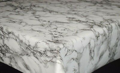 Marble Granite Effect Grey Off White Plain Printed Vinyl Pvc Plastic Table Cloth
