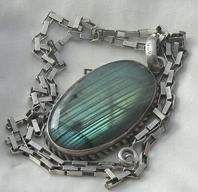 Large Vintage Silver Mounted Oval Labradorite Pendant Necklace & 925 Box Chain