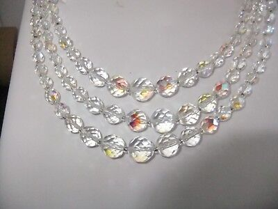 Vintage 1950s 3 strand aurora borealis crystal necklace with clasp.