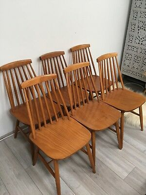 Set Of Six Vintage Retro Mid Century 1960's Wooden Spindle Back Dining Chairs