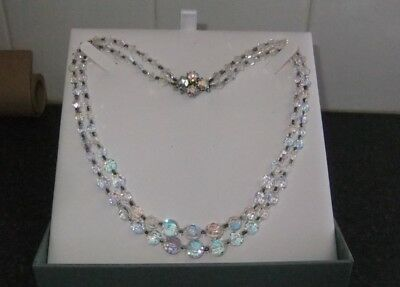 Aurora Borealis Crystal Double Strand Necklace  With Clasp, Vintage 1950.