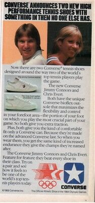 1983 Converse Jimmy Connors Chris Evert tennis shoes sneakers vintage print ad
