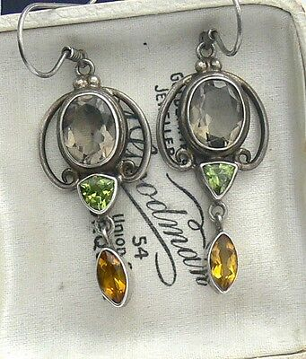 Vintage Sterling Silver Smoky Quartz Peridot Citrine Dangly Drop Earrings Lovely