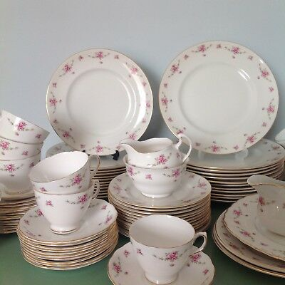 Vintage Royal Osborne Princess 79 Piece Tea Set Dinner Service Pink Rose Wedding