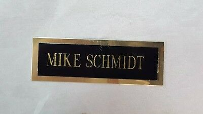 "MIKE SCHMIDT engraved name plate 3x1-1/8"" black/brass autograph display photo"