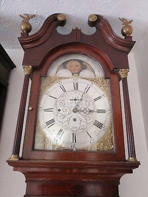 Very Grand 8 Bell Longcase Clock. Hill Sheffield. Moon Phase, Oak/ Mahogany