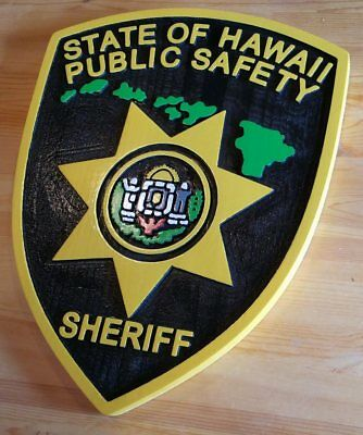 Police Hawaii Sheriff  3D routed carved wood award patch plaque sign