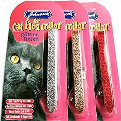JOHNSONS Sparkling Glitter Cat FLEA Collar 4 MONTH PROTECTION RED GOLD SILVER