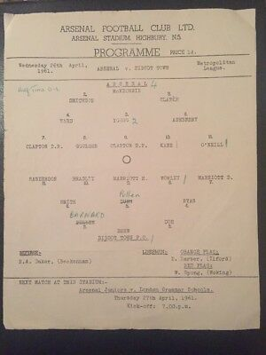 Arsenal V. Didcot Town Met League 26/04/1961