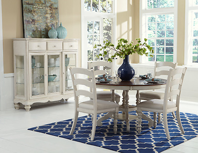 French Country Round Dining Table and 4 Chairs Antique White 5 pc Dining Set HI