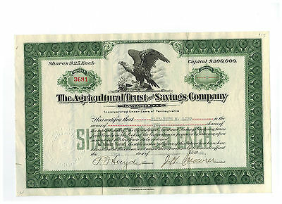 The Agricultural Trust and Savings Company 1928 Stock Certificate #3681