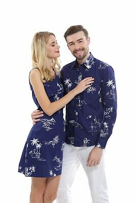 Vintage Classic Couple Matching Long Sleeve Shirt Dress Outfit Hawaiian Navy