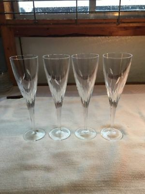 Cut Glass LONGCHAMP J.G.DURAND CRISTAL D'ARQUES SET OF 4 CHAMPAGNE FLUTES 9""