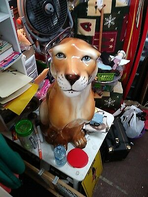 Ceramic Cat Statue Florida Panther  Mountain Lion  Puma , Cougar. , Italy signed