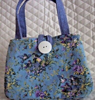 """Blue with Birds and flowers Little girl's purse,7"""" X 5"""" X 2"""", Button to close"""
