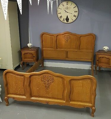 Original French Louis Oak Double Bed.   ....FREE DELIVERY!...