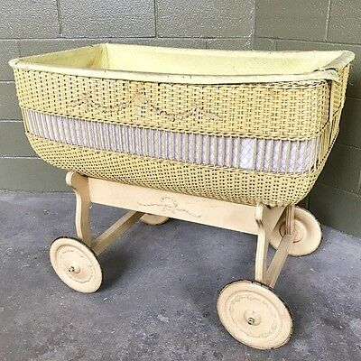 Large Vintage Antique Wickerwood Baby Bassinet On Wheels Exquisite Details