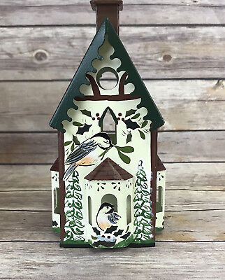 Lenox Winter Greetings Chickadee Birdhouse Votive Toleware 1999