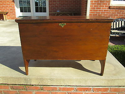 Antique 18Th C New England Pine Blanket Chest Box Bootjack Leg Heart Brass Lock