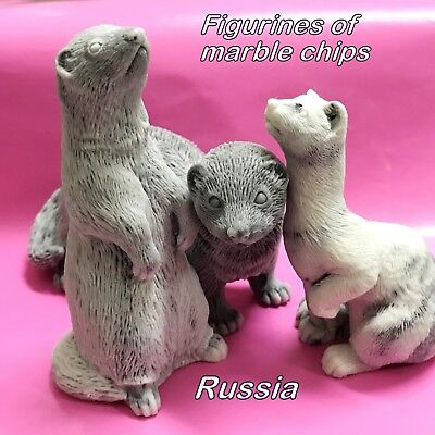 Ferret figurines marble chips Souvenirs from Russia excellent quality Pets
